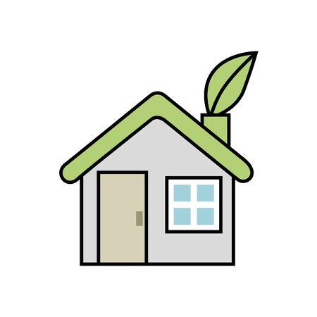friendly house facade ecology icon vector illustration design Archivio Fotografico - 136841070