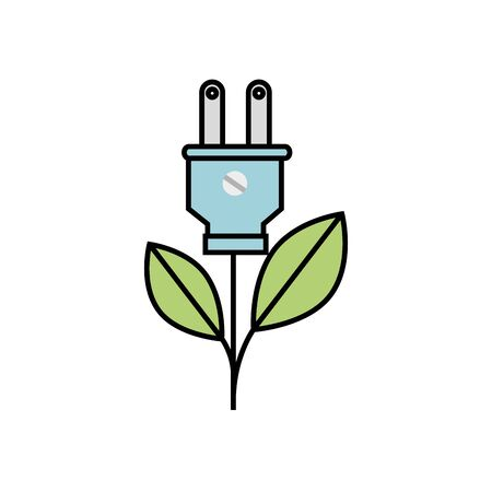plug with leafs ecology icon vector illustration design