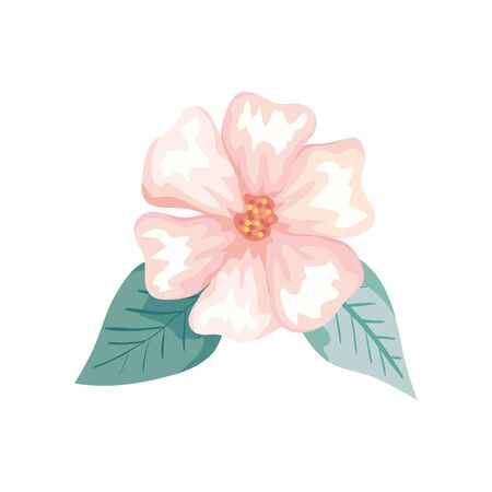 cute flower with leafs natural isolated icon vector illustration design  イラスト・ベクター素材