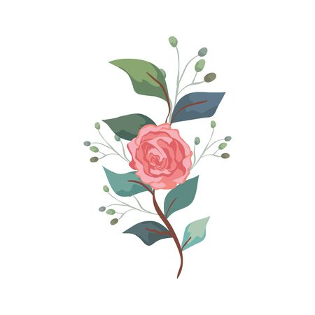 cute rose with branch and leafs isolated icon vector illustration design  イラスト・ベクター素材