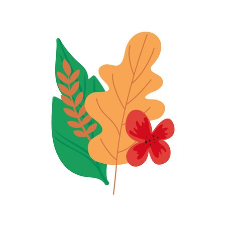 flower with leafs natural isolated icon vector illustration design  イラスト・ベクター素材