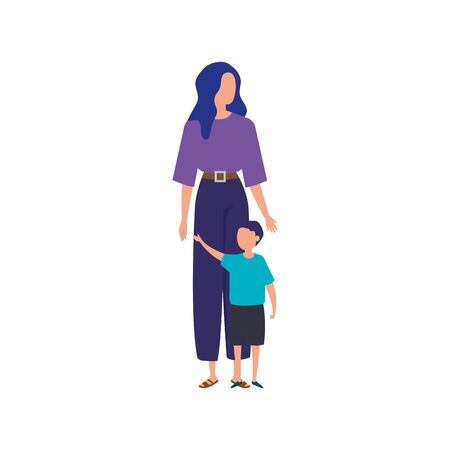 mother with son avatar characters vector illustration design Stock Illustratie