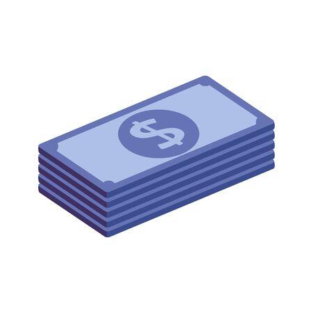 stack bills money cash isolated icon vector illustration design Ilustración de vector