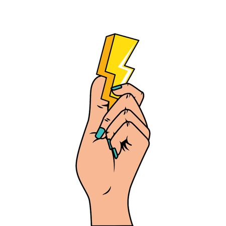 hand with thunderbolt pop art style icon vector illustration design