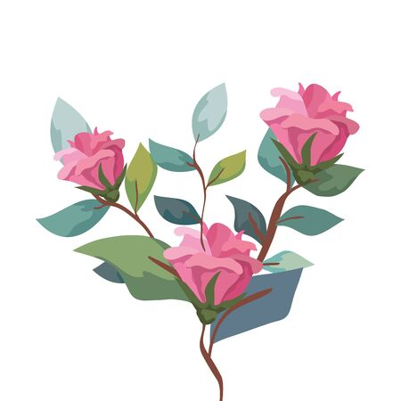 cute flowers with branches and leafs isolated icon illustration design  イラスト・ベクター素材