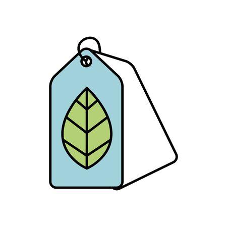 label with leaf ecology icon illustration design