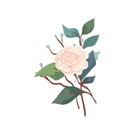 cute rose with branches and leafs isolated icon illustration design