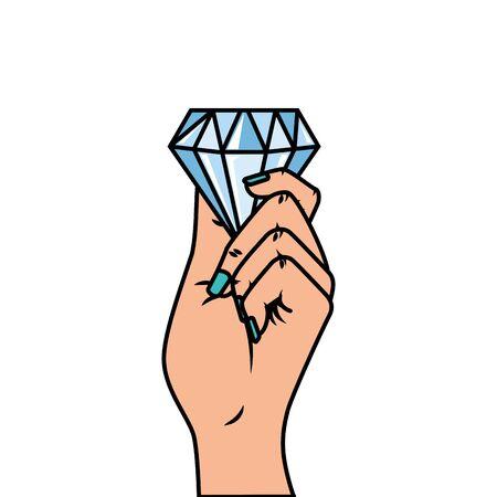 hand with diamond pop art style icon vector illustration design