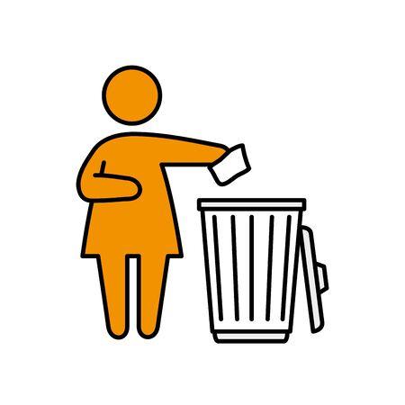 woman silhouette with waste bin ecology icon illustration design Archivio Fotografico - 136890848