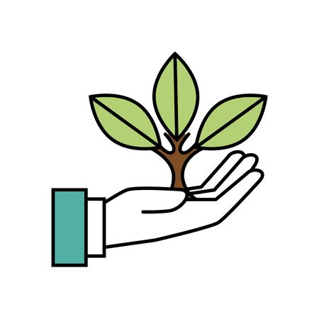 hand with tree plant ecology icon vector illustration design