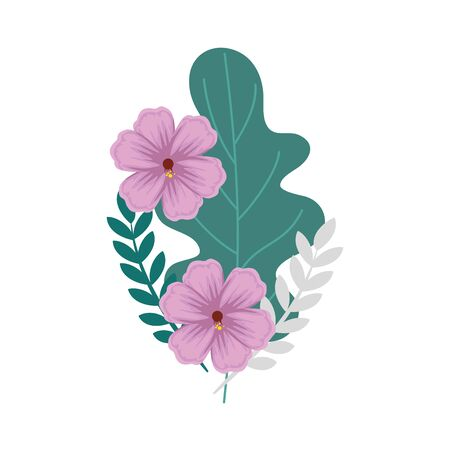 flowers with leafs natural isolated icon vector illustration design