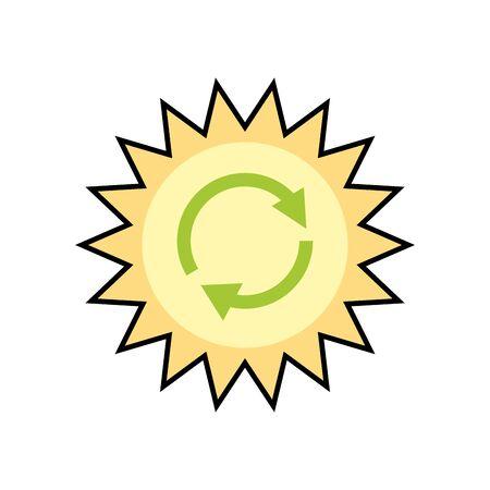 sun with arrrows symbols ecology icon vector illustration design