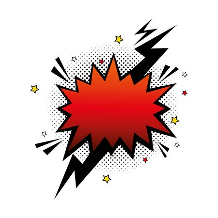 explosion red color with thunderbolt pop art style icon vector illustration design