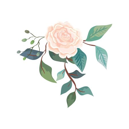 cute rose with branches and leafs isolated icon vector illustration design  イラスト・ベクター素材