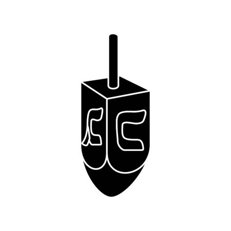 silhouette of dreidel game traditional isolated icon vector illustration design