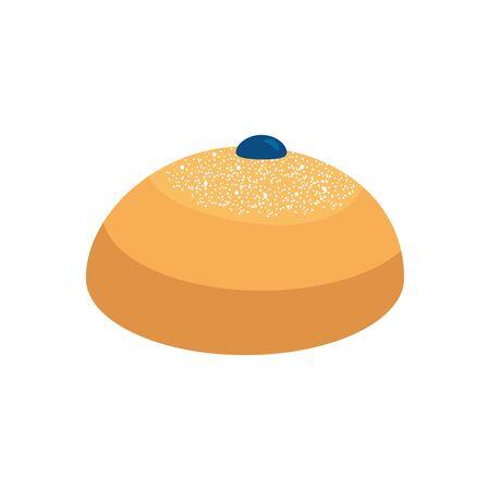 delicious round bread isolated icon vector illustration design