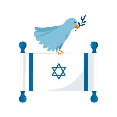 flag israel and bird with branch isolated icon vector illustration design