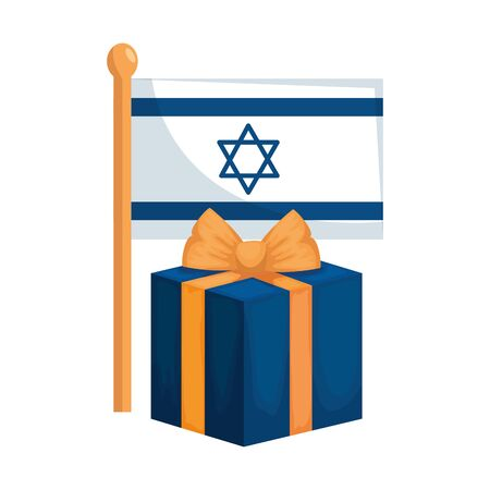 flag israel with gift box isolated icon vector illustration design Çizim