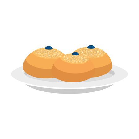 set of delicious round breads isolated icon vector illustration design