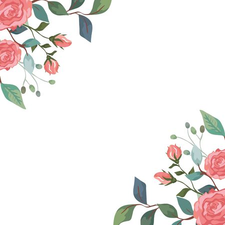 frame of roses with branches and leafs isolated icon vector illustration design