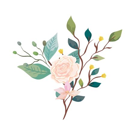 cute rose with flower and leafs isolated icon vector illustration design Stock Vector - 136882347