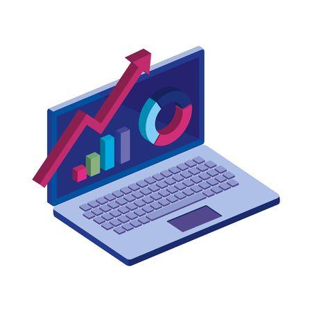 laptop computer with infographics isolated icon vector illustration design Vektoros illusztráció