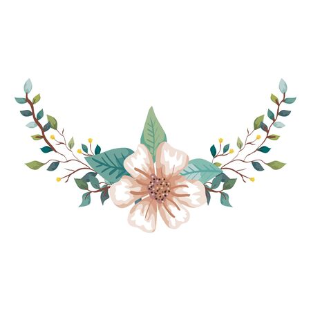 cute flower with branches and leafs natural vector illustration design
