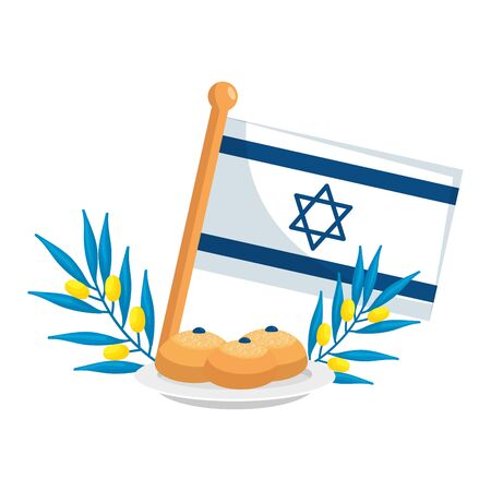 flag israel with bread and branches vector illustration design