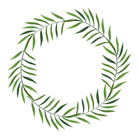frame circular of branches with leafs vector illustration design