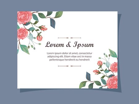 invitation card with flowers and leafs decoration vector illustration design 일러스트