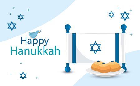 happy hanukkah with flag israel vector illustration design Çizim