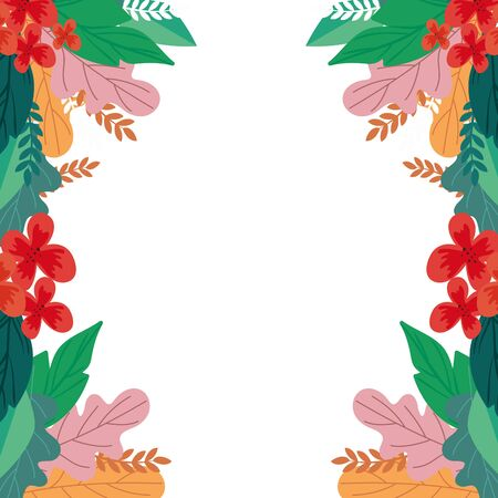 frame of flowers with leafs natural isolated icon vector illustration design