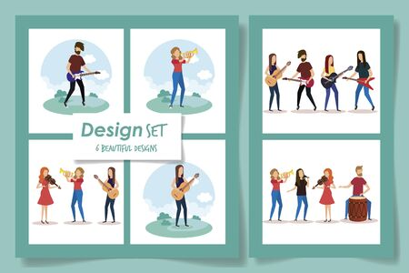 six designs of people with instruments musicals vector illustration design