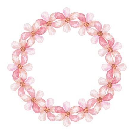 frame circular of cute flowers isolated icon vector illustration design Archivio Fotografico - 136882566