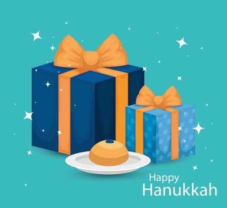 happy hanukkah with gift boxes and bread vector illustration design Çizim