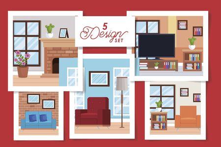 five designs of interiors living room with decoration vector illustration design Archivio Fotografico - 136882236