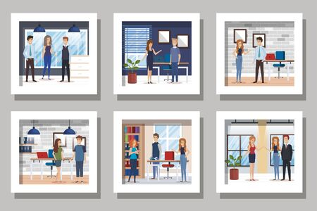bundle of business people in the workplace vector illustration design