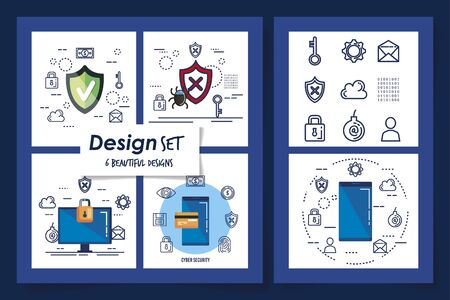 six designs of cyber security and set icons vector illustration design Stock Illustratie