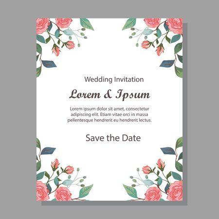 Tarjeta de invitación de boda con decoración de flores, diseño de ilustraciones vectoriales