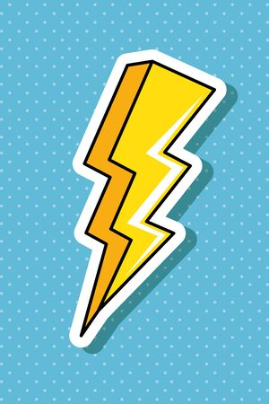 thunderbolt pop art style icon vector illustration design
