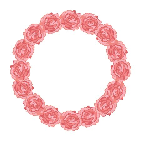frame circular of roses isolated icon vector illustration design Stock Vector - 136888751