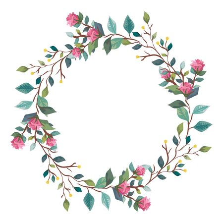 frame circular of flowers with branches and leafs vector illustration design  イラスト・ベクター素材