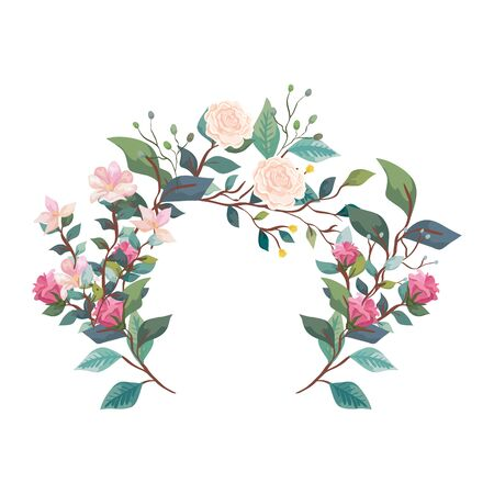 decoration of roses with flowers and leafs vector illustration design