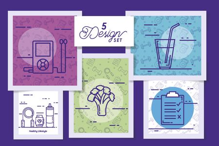five designs of lifestyle healthy and icons vector illustration design