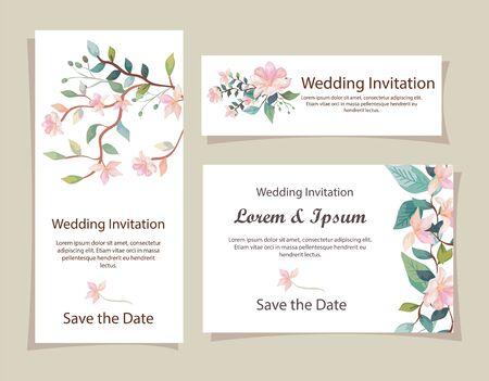 Conjunto de tarjetas de invitación de boda con decoración de flores, diseño de ilustraciones vectoriales