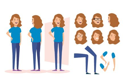young woman with body parts characters vector illustration design Foto de archivo - 136888867