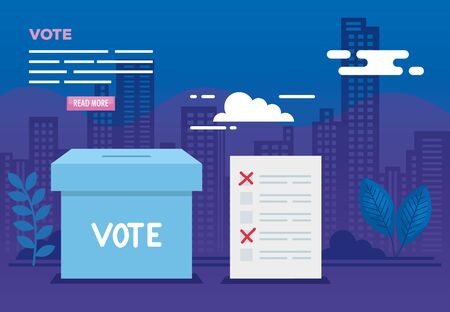 poster of vote with urn and icons vector illustration design