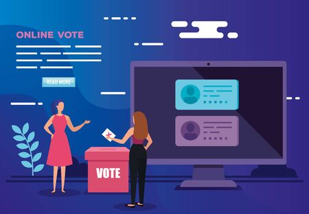 poster of vote online with computer and business women vector illustration design