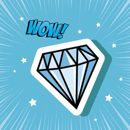 diamond with love lettering pop art style icon vector illustration design