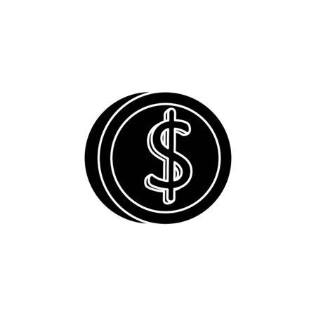 silueta, de, moneda, dinero, aislado, icono, vector, ilustración, diseño